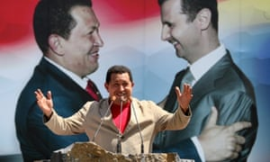 Venezuelan President Hugo Chavez addresses crowds in Sweida, 100 kms south of Damascus, on in September 2009. Syrian officials have dismissed reports that Assad is considering fleeing to Latin America.