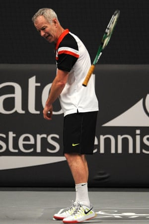 Old habits die hard: John McEnroe of United States reacts during his match against Jeremy Bates of Great Britain on Day Two of the Statoil Masters Tennis at the Royal Albert Hall, London.