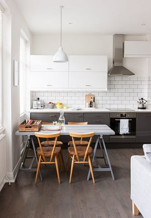 Homes neon: White and minimal London flat - the dining table