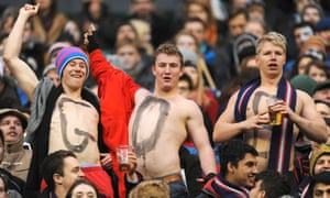 Another side of the match at Twickenham: shirtless spectators in the stands.