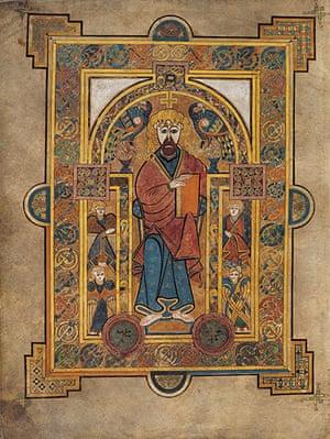 Book of Kells: Christ holding a Gospel book