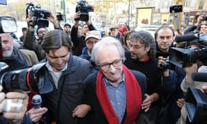 Film director Ken Loach meets with workers and Italian USB (Unione Sindicale di Base) union representatives at the Cinema Ambrosio in Turin. Loach has reportedly refused an award by the Torino film festival to show his solidarity with workers who lost their jobs after the festival's organizers had outsources cleaning and security services.