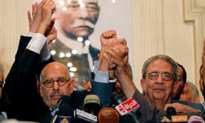 Nobel peace laureate, Mohamed El Baradei, left, and former Egyptian Foreign Minister and presidential candidate, Amr Moussa