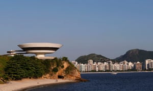 A view of the Contemporary Art Museum designed by Oscar Niemeyer in Niteroi city near Rio