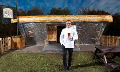 Heston Blumenthal outside his pub-in-a-pie