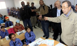 UN secretary general Ban Ki-moon ( speaks to pupils during a visit to a UN-run school in the Zaatari Refugee Camp for Syrian refugees.