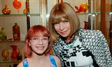 Blogger Tavi Gevinson (L) poses for a photo with Editor-in-Chief of Vogue Anna Wintour