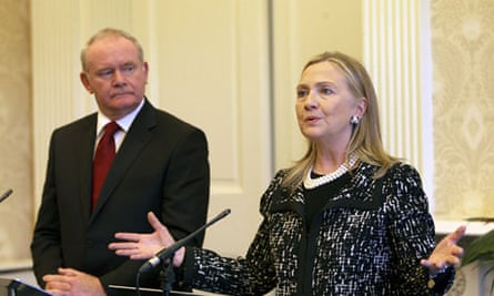 Hillary Clinton with Martin McGuinness at a press conference at Stormont Castle
