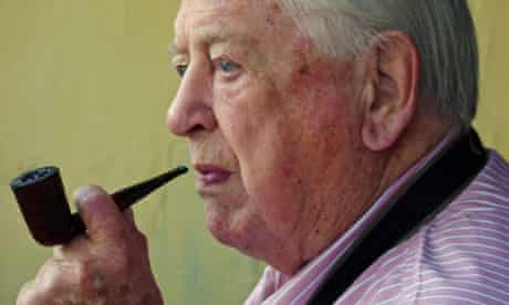 Denis Forman with his pipe