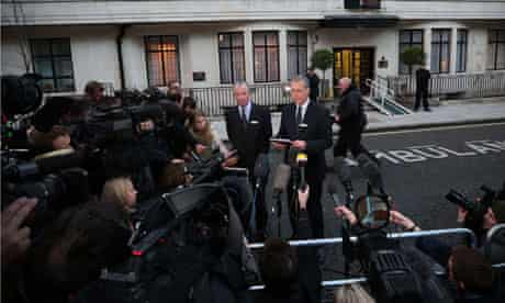 King Edward VII hospital chief executive and chairman talk to the media after a nurse was found dead