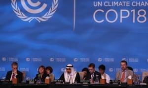Delegates at the UN climate talks in Doha
