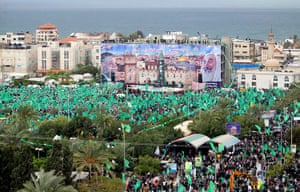 Hamas: Palestinians take part in a rally