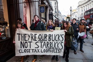 Starbucks: Protesters march down Regent Stree