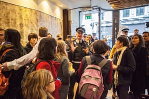 Starbucks: Police reason wiht protesters at the Conduit Street branch of Starbucks
