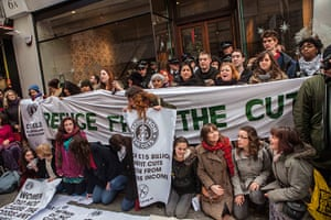 Starbucks: Protesters outside the Vigo Street branch of Starbucks