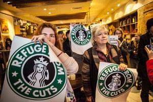 Starbucks: Polly Toynbee joins protesters inside Starbucks