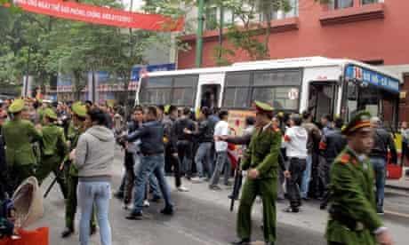 Police move anti-China protesters