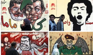 Murals drawn on the wall of the presidential palace in Cairo.