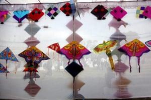 24 hours: New Delhi, India: Kites on display at India Gate during the Delhi International Kite Festival 2012