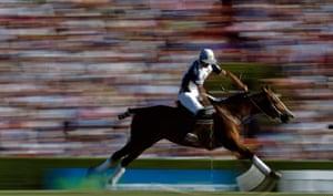 24 hours: Buenos Aires, Argentina: La Dolfina polo team's Adolfo Cambiaso hits the ball