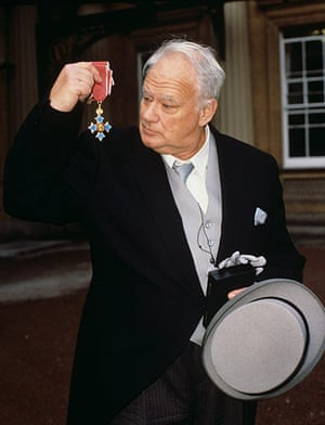 Patrick Moore collects his CBE at Buckingham Palace in October 1988