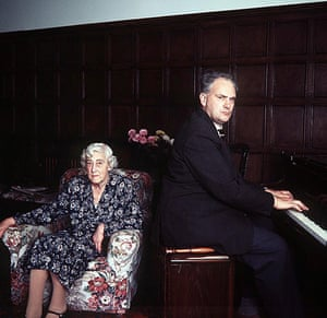 Patrick Moore plays the piano at home with his mother Gertrude in 1970