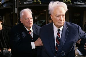Patrick Moore in 1992 with a Madame Tussauds waxwork of himself