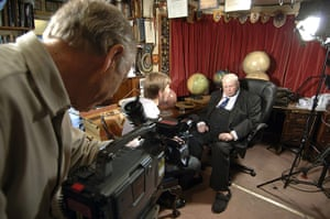 The Sky at Night being recorded for the 650th time at Patrick Moore's home in Selsey, West Sussex