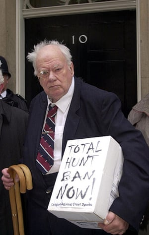 Patrick Moore, a dedicated anti-hunt campaigner, delivers a petition to No 10 renewing calls for a total ban on fox hunting in 2001
