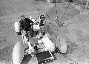 Patrick Moore and James Burke on a replica lunar rover