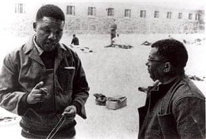 Mandela: 1966: Nelson Mandela with Walter Sisulu at Robben Island