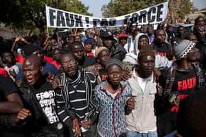 Protest in Senegal: Members of a Senegalese anti-government youth movement Y En A Marre