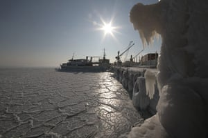 Cold snap continues: The surface of the Black Sea is covered with ice, Yevpatoria, Ukraine
