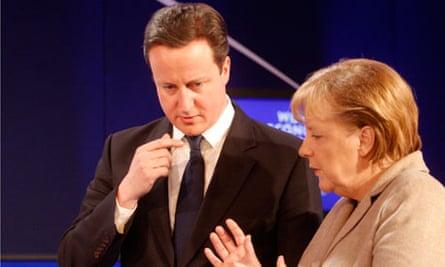 Angela Merkel and David Cameron at Davos