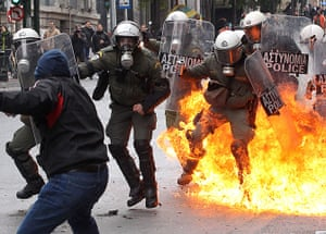 Strikes in Greece: Protesters clash with riot police during the general strike protest