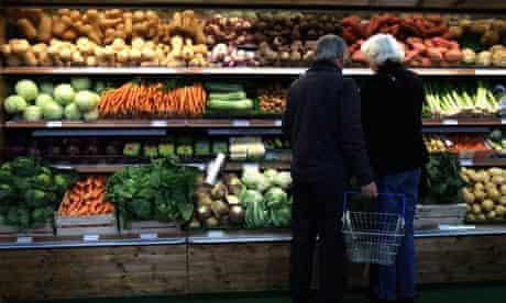 Vegetables on display at Coton Farm Shop in Cambridgeshire.