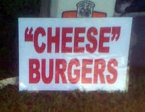 """Quotation marks: """"Cheese""""  Burgers"""