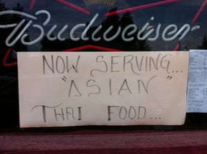 """Quotation marks: Now serving """"Asian"""" Thai food"""