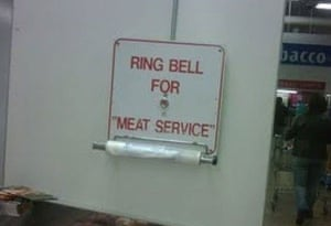 """Quotation marks: Ring bell for """"meat service"""""""