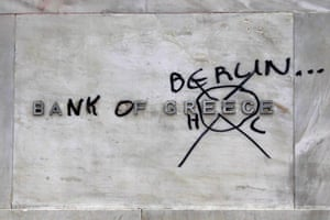 Greece protests: A defaced Bank of Greece sign