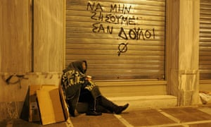 A homeless man  in Athens