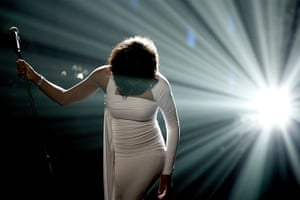 Whitney Houston obit: 2009: Whitney Houston performs onstage at the American Music Awards