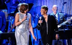 Whitney Houston obit: 2011: Whitney Houston and Dionne Warwick perform at the Pre-GRAMMY Gala
