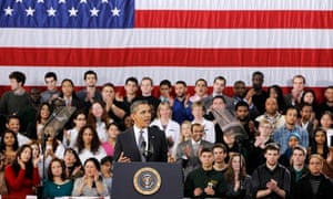 Barack Obama speaks at a college in Virginia