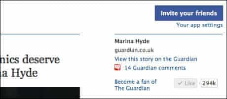 Screenshot of the Guardian Facebook app