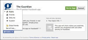 Guardian Facebook app GDP permissions screen
