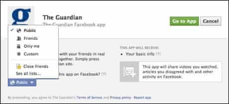 Guardian Facebook app GDP permissions screen