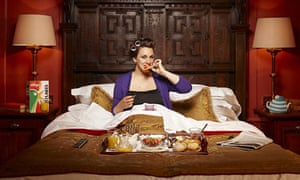 Grace Dent having breakfast in bed