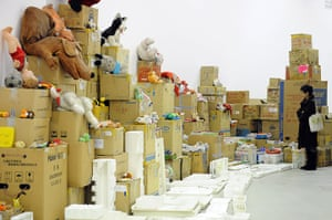 Song Dong installation: Boxes, packaging materials and toys