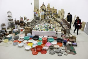 Song Dong installation: Members of the public look at some of over 10,000 everyday objects
